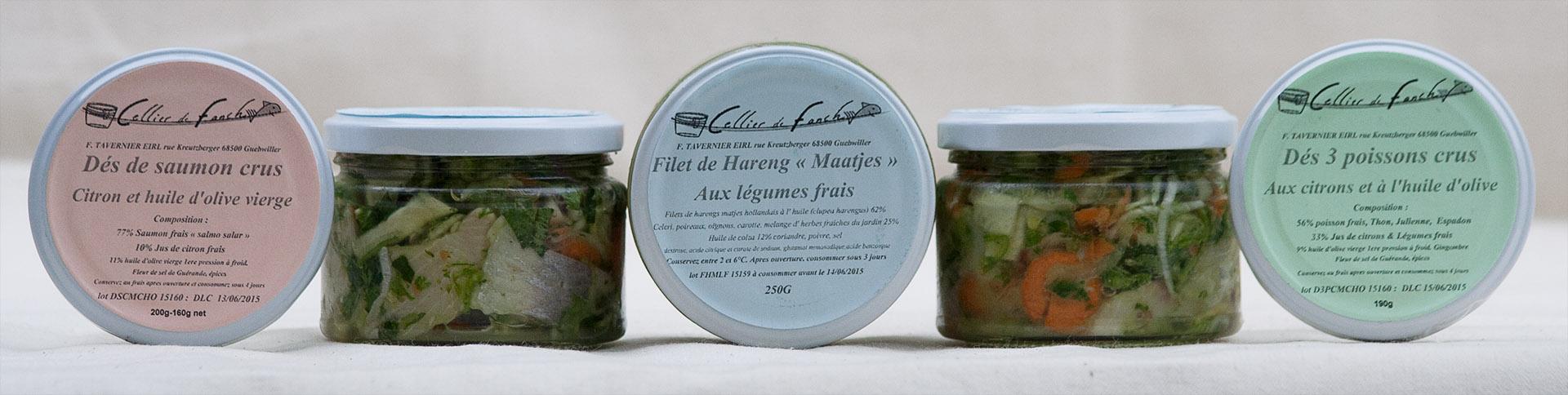 Photo des produits crus et marinés
